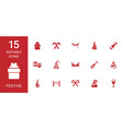 15 festive icons vector image vector image