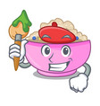 artist character a bowl of oatmeal porridge vector image