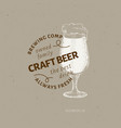 beer logo template hand drawn beer glass vector image vector image
