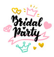 bridal party lettering postcard vector image vector image