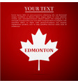 canadian maple leaf with city name edmonton vector image vector image