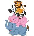 Cartoon funny animal standing on top of each other vector image vector image