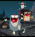 cartoon funny cats yelling on the roof at night vector image vector image