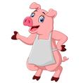 cartoon pig chef waving vector image vector image