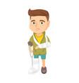 caucasian sad injured boy with broken arm and leg vector image vector image