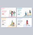creative life landing page set template vector image