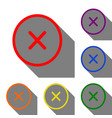 cross sign set of red orange vector image
