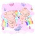 cute cartoon pigs on a rainbow vector image