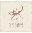 deer coffee negative space concept grunge design vector image vector image