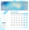 Desk Calendar for 2016 Year July Stationery Design vector image vector image