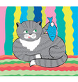 funny cat with fish vector image
