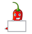 grinning with board cartoon red hot natural chili vector image vector image