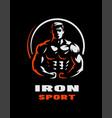 iron sport bodybuilding athlete silhouette logo vector image vector image