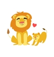 Lion Dad Animal Parent And Its Baby Calf vector image vector image