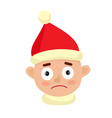 little boy upset face expression isolated on white vector image