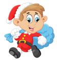 little kid with santa costum vector image vector image