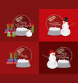 mery christmas card with snowman and set spheres vector image vector image