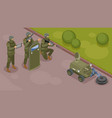 military robots isometric composition vector image vector image