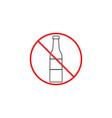 no alcohol line icon red prohibited sign vector image vector image