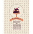 patterned cover for your dessert menu with cakes vector image vector image