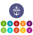 pirate anchor icons set color vector image vector image