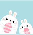 rabbit bunny friends holding painting egg set vector image vector image