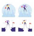 set businesspeople overcoming obstacles vector image vector image