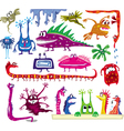 set colored cartoon monsters vector image vector image
