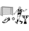 set of football player with a ball cup goal vector image vector image