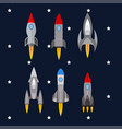 set of rockets rocket launch into space travel vector image vector image