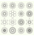 simple retro small flowers set of outline symbol vector image vector image