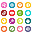 sport balls icons set colorful circles vector image vector image