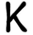 sprayed K font graffiti in black over white vector image vector image
