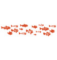 strange fish a flock swimming fish vector image
