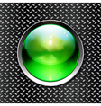 Techno background with glossy button Metal banner vector image