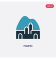 two color pompeii icon from monuments concept vector image vector image