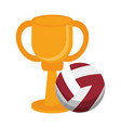 voleyball trophy cup championship vector image vector image