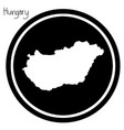 white map of hungary on black circle vector image vector image