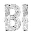 word bi for coloring decorative zentangle vector image vector image