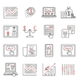 Finance and stock line icons investment strategy vector image