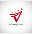 star shape letter v logo vector image