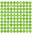 100 different gestures icons hexagon green vector image vector image