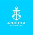 a and r monogram anchor restaurant logotype logo vector image