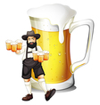 a man with glass full of beer