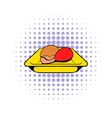 Airplane lunch icon comics style vector image vector image