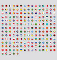 all national rounded flags with names stickers vector image vector image