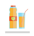 Apple juice glass and bottle isolated vector image vector image