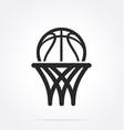 basketball logo simple line drawing vector image vector image