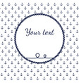 blue and white navy rope circle frame with vector image vector image