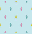 blue cacti modern youthful pattern seamless vector image vector image